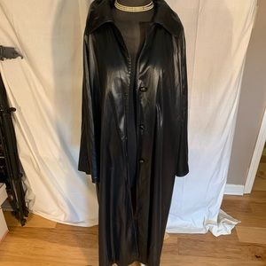 Jackets & Blazers - Liquid leather look light hooded trench. Large